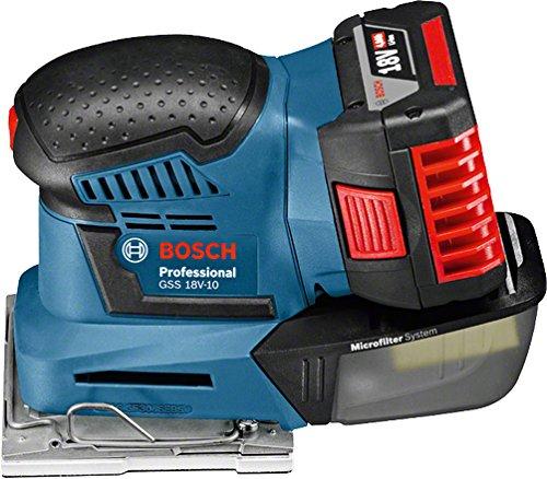 Preisvergleich Produktbild Bosch Professional 06019D0202 Professional Schwingschleifer GSS 10 ohne Akku, 3x Schleifpapier, 3x Schleifplatte, Stanzwerkzeug, Schraubendreher, 18 V, Durchmesser 1, 6 mm