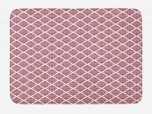 CHKWYN Pink Damask Bath Mat, Modernized Victorian Style Art Deco on Polka Dots, Plush Bathroom Decor Mat with Non Slip Backing, 23.6 W X 15.7 W Inches, Dark Magenta Dried Rose Coral and Peach -