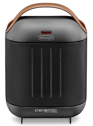 De'longhi HFX30c18 IW - Calefactor cerámico, 1800 w, 2 niveles de potencia, ventilación de verano, termostato ajustable, fácil transporte, antracita