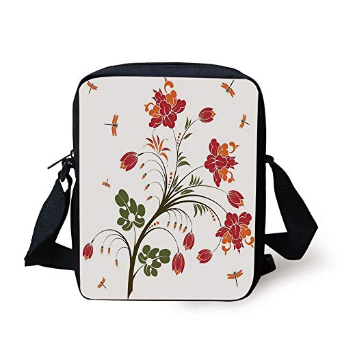 KLYDH Dragonfly,Flourishing Vivid Blossom Illustration Little Dragonflies Exquisite Habitat Image,Red Orange Print Kids Crossbody Messenger Bag Purse -
