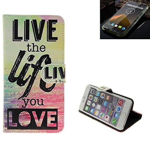 K-S-Trade Für Blackview BV 5000 Schutz Hülle 360° Wallet Case ''live Life Love'' Schutzhülle Handy Tasche Handyhülle Etui Smartphone Flip Cover Standfunktion (1x)