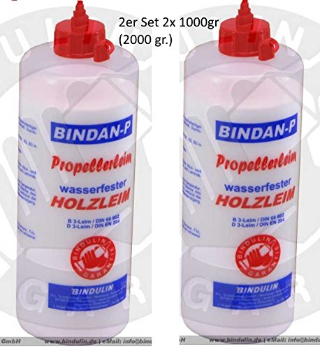 Holzleim wasserfest, Bindan Propeller Leim 2x 1.000 gr. (2000 gr.)