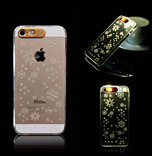 Lumière Clignotante Motif Transparent Coque rigide pour Apple iPhone 5/5S & 6/6S, Australie, Apple iPhone 5/5s SNOW FLAKE