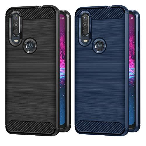 VGUARD 2 Pezzi Cover per Motorola Moto One Action, [Fibra di Carbonio] Protezione Posteriore Soft TPU Custodia Case per Motorola Moto One Action (Nero+Blu)