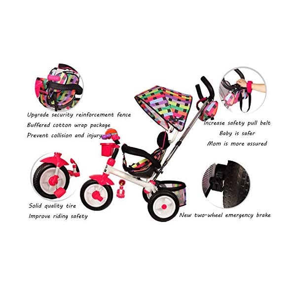 3 In 1 Childrens Tricycles 12 Months To 6 Years 3-Point Safety Belt Kids Tricycle Rear Wheel With Brake Folding Sun Canopy Child Trike Maximum Weight 30 Kg Birthday Present,Green BGHKFF ★Material: Steel pipe, suitable for children aged 1-6, maximum weight 30 kg ★ 3-in-1 multi-function: convertible into stroller and tricycle. Remove the hand putter and awning as a tricycle. ★Safety design: gold triangle structure; 3-point seat belt + guardrail; rear wheel double brake; safety belt 3