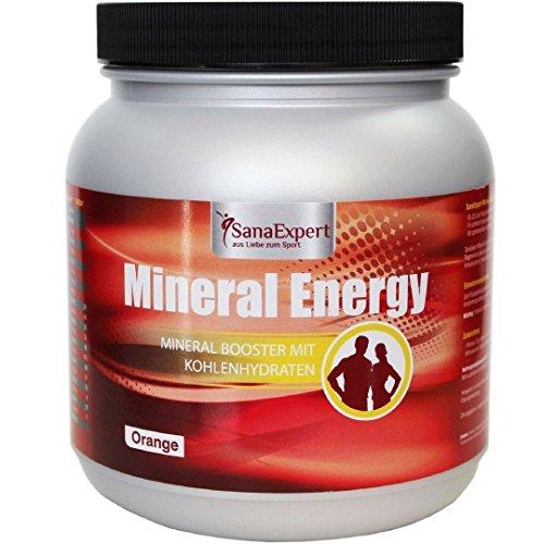 SanaExpert Mineral Energy, isotonisches Sportgetränk mit Elektrolyten, Vitaminen, Mineralien, Kohlenhydraten, Booster, Getränke-Pulver Orange, 1100g -