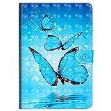 MoreChioce kompatibel mit Galaxy Tab S2 9.7 Hülle,3D Blau Schmetterlinge Leder Flip Case Stand Brieftasche mit Auto Sleep/Wake Funktion kompatibel mit Samsung Galaxy Galaxy Tab S2 9.7 T810 T815