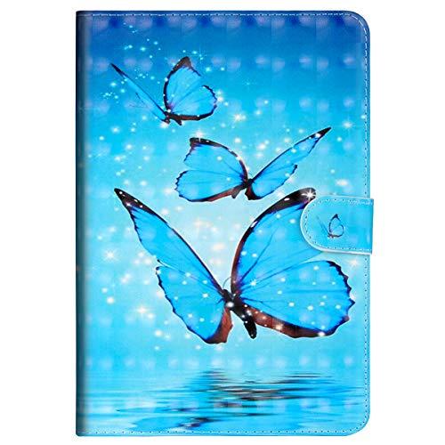 Preisvergleich Produktbild MoreChioce kompatibel mit Huawei Mediapad M3 Lite 8 Hülle,kompatibel mit Huawei Mediapad M3 Lite 8 Hülle Case, 3D Blau Schmetterlinge Leder Flip Case Brieftasche mit Auto Sleep/Wake Funktion,EINWEG