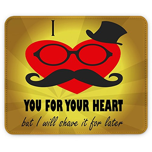 Hipster 10027, Moustache, Designer Leder Mousepad Unterlage Mauspad -