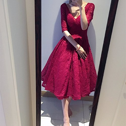 GHSSJH Evening dress Fashion Banquet Annual dress Sleeve Lace Bride Toast Long sleeve V-neck Long section