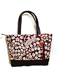 Jute And Leather Tote/Handbag For Women- Peacock And Floral Print In Magenta