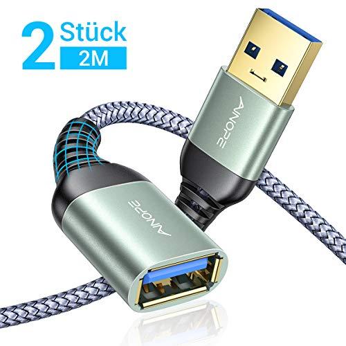 AINOPE 2 Stück 2M USB Verlängerung Kabel USB 3.0 Verlängerungskabel A Stecker auf A Buchse mit eleganten Alluminiumsteckern, Nylon Stoffmantel für Kartenlesegerät,Tastatur, Drucker, Scanner, Kamera