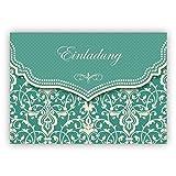 Feine Einladungskarte mit Vintage Damast Muster in edlem Hellblau Türkis zur Hochzeit, Taufe, Diner etc: Einladung