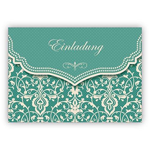 Grußkarten Set (10Stk) Feine Einladungskarte mit Vintage Damast Muster in edlem Hellblau Türkis zur Hochzeit, Taufe, Diner etc: Einladung - auch für Firmen Kunden und Geschäftspartner