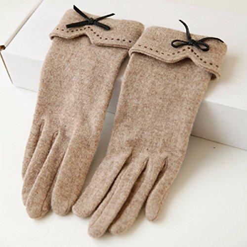 UZI-Autunno/Inverno guanti in pile nuove flangiatura bow maglia cashmere caldo ladies touch screen guanti,grigio