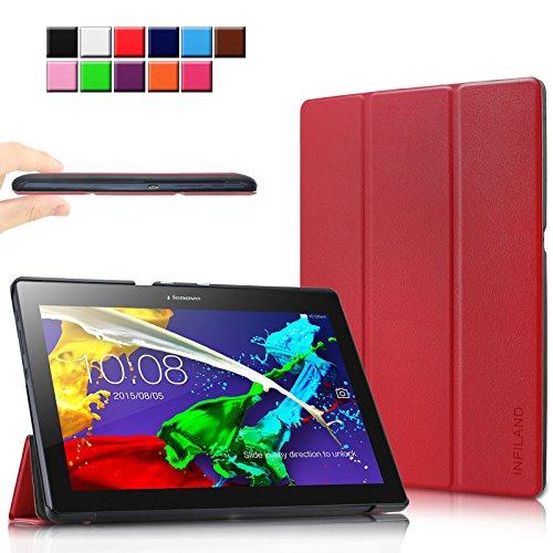 Infiland Lenovo Tab 2 A10-70/A10-70L/A10-70F/ A10-30F/A10-30L / Tab 3 10 Business/ Tab3 10 Plus Hülle Case, Ultra Dünn Tri-Fold Smart-Muschel Schutzhülle(mit Auto Schlaf/Wach Funktion)(Rot)