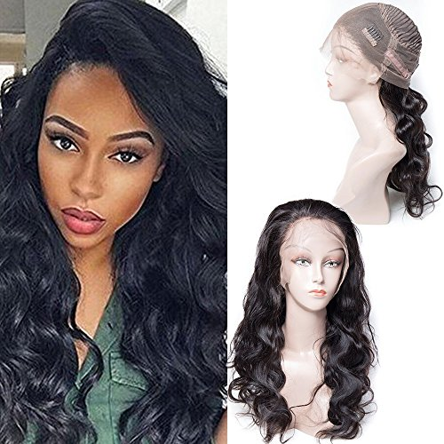 Maxine 360 Lace Frontal Wig 130% Density Swiss Lace Human Hair Wigs For Black Women Body Wave 360 Lace Wig Lace Front Human Hair Wigs Adjustable Length 10inch (Lace 100 Human Hair)
