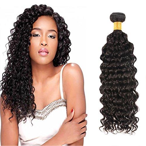 Huarisi Brasilianisches Jungfrau Haar tief lockige Welle 100% echtes menschliches Haar Verlängerungen natürliche schwarze Farbe Schuß 1 Bündel 100g 16 zoll eine Packung - 100 Echthaar Extensions Nähen