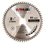 Saxton TCT Circular Wood Saw Blade 210mm x 60T fits Evolution Rage Saws - Includes 25.4mm Reduction Ring