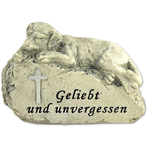 MW Handel Tiergrabstein Grabschmuck Hund Gedenkstein Grabdeko Hund Liegend auf Stein Grab Deko