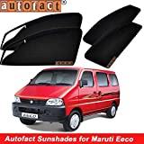 #7: Autofact Magnetic Window Sunshades/Curtains for Maruti Eeco [Set of 6pc - Front 2pc with Zipper ; Rear 2pc Without Zipper ; Baby Seat 2pc Fix Type Without Zipper & Without Magnet] (Black)