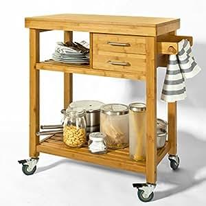 SoBuy® FKW26-N Meuble rangement cuisine roulant en Bambou, Chariot de cuisine, Desserte à roulettes, Kitchen Trolley L73xP45xH92cm