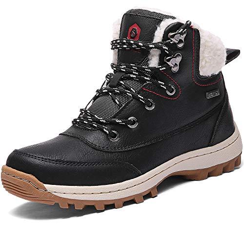 SIXSPACE Damen Winterstiefel Warm Gefütterte Winterschuhe Outdoor Schneestiefel Wanderschuhe Rutschfeste Arbeitsschuhe Winter Boots(Schwarz, 40 EU)