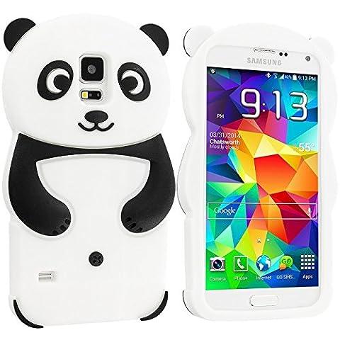 SKS Distribution® Samsung Galaxy S5 Schwarz und Weiß Glücklicher Panda niedlichen Tier Silikonhülle Shell Beschützer Handy Smartphone Zubehör