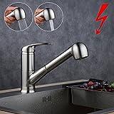 Niederdruck Einhandmischer Küchen Armatur herausziehbar mit Brause,Gebürstetes Nickel,Beelee BL7084NDY