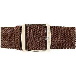 DaLuca Braided Nylon Perlon Watch Strap - Brown (Polished Buckle) : 22mm