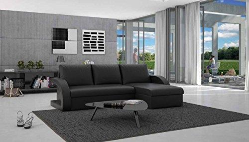 Eck-Sofa mit Schlaffunktion schwarz 238x136 cm L-Form | Cadico-L | Sofa-Garnitur aus Kunstleder mit Recamiere | Polster-Couch ausziehbar für Wohnzimmer schwarz 238 x 136cm