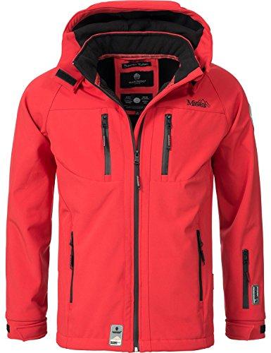 Marikoo Mountain Herren Softshell-Jacke Outdoorjacke Noaa (vegan hergestellt) Rot Gr. XL