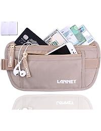 Travel Money Belt Waist Wallet Rfid Blocking, Anti-Theft Passport Holder, Hidden Waist Stash For Men Women, Khaki...