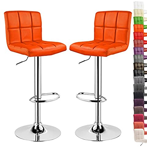 WOLTU 9172-a Set of 2 Swivel Bar Stools with Backs and Footrest Faux Leather Breakfast Kitchen Chair Stools Height Adjustable from 60 to 82cm,Orange