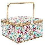 Creaciones por Korbond–Extra grande cesta de costura, diseño de flores