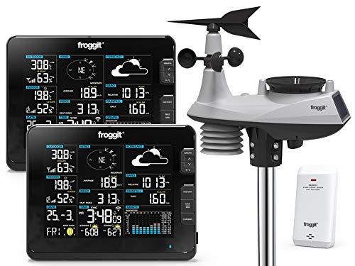 froggit WH6000 Twin (2 Displayeinheiten) professionelle Wi-Fi Internet Funk Wetterstation