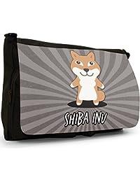 Preisvergleich für Asiatische Cartoon-Hunde Große Messenger- / Laptop- / Schultasche Schultertasche aus schwarzem Canvas