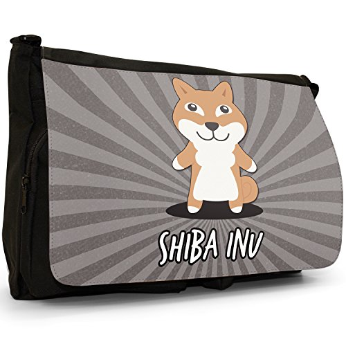 Asian Cartoon cani grande borsa a tracolla Messenger Tela Nera, scuola/Borsa Per Laptop Japanese Shiba Inu, Shiba Ken