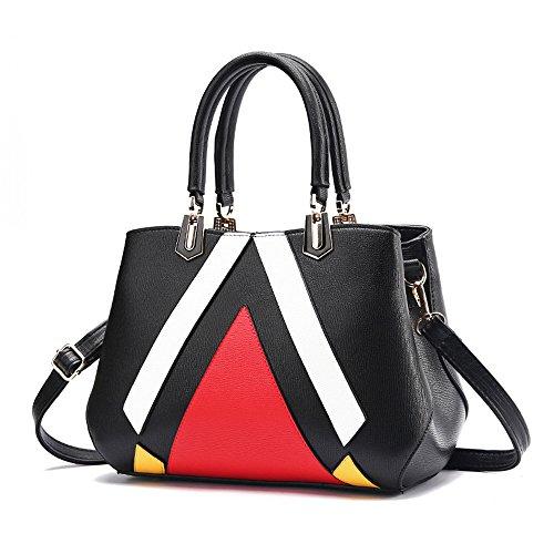 ANNE Sacchetti di spalla delle borse delle cuciture di modo delle donne Black