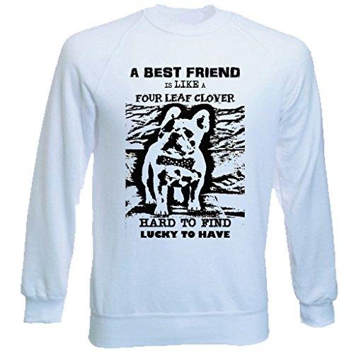 Teesquare1st Men's FRENCH BULLDOG BEST FRIEND PB 39 White Sweatshirt T-Shirt Size XXLarge
