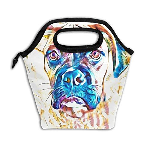 Bidetu Neugieriger Boxer-Hundelunchbag Kühltasche Frauen-Einkaufstasche Isolierte Lunchbox Thermolunchbags für Frauen/Picknick/Bootfahren/Strand/Angeln/Arbeit (Lunch-box Molle)