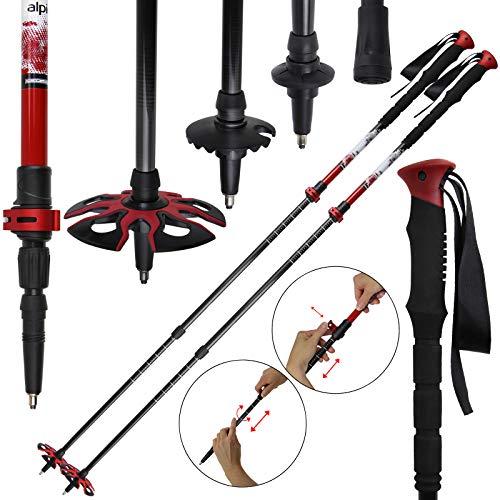 ALPIDEX Skitourenstock RED Vario Teleskopstöcke aus Carbon Längenverstellbar 62-135 cm ergonomische, verlängerte Griffe Wolframspitze Klemmverschluss, Farbe:Black-Red