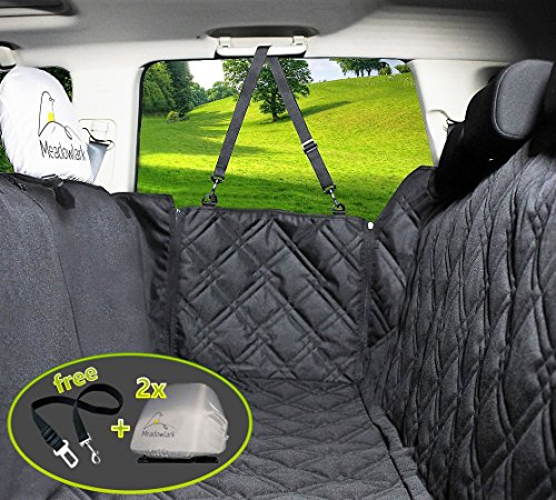 2018 Dog Car Seat Cover. Cover Waterproof! Universal Hammock for First Quality Pets, Full Back Seat Protector, Doors and Headrest. Bonus: Safety Belt