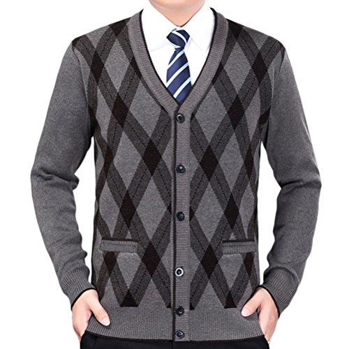 Zhhlinyuan Herren Pullover Mens Men's Father Casual British Style Stretch Comfortable Shrink-proof Long Sleeve V Neck Knit Knitted Cardigan Sweatshirt Sweater (Cardigan Style Pullover Golf)