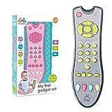 Simulation TV-Fernbedienung, Musik Englisch Lernen Fernbedienung Modell Wissenschaft und Bildung Kognitives intellektuelles Spielzeug für Babys Kinder, pink/grau