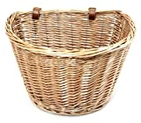 Retro, Handmade, Wicker Bicycle Front Basket with Leather Straps