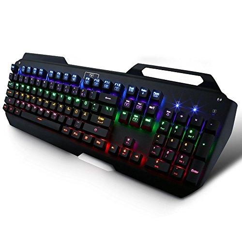 Gamelec Mechanical Gaming Tastatur 104-Tasten mit Multi-Farben-Hintergrundbeleuchtung USB-Kabel angeschlossen Key Cap Puller für Gamer Schreiber usw. -Deutsches Tastaturlayout, QWERTZ