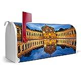 BANJADO US Mailbox/Amerikanischer Briefkasten 51x22x17cm/Letterbox Stahl weiß/mit Motiv Zwinger Dresden, Briefkasten:mit schwarzem Standfuß