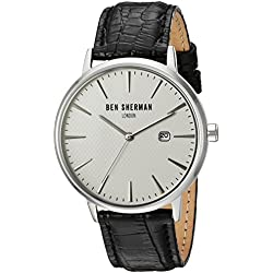 Ben Sherman Men's Quartz Watch with White Dial Analogue Display and Black Leather Strap WB001W