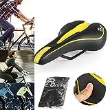 Ondeni molle MTB sella bicicletta sellino per city bike/mountain bike con copertura impermeabile, 27x14cm, colore: nero e giallo